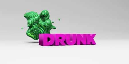 DRUNK -  color type on white studiobackground with design element - 3D rendered royalty free stock picture. This image can be used for an online website banner ad or a print postcard.