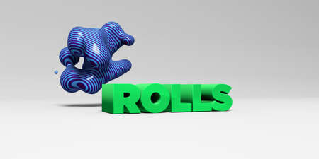 ROLLS -  color type on white studiobackground with design element - 3D rendered royalty free stock picture. This image can be used for an online website banner ad or a print postcard.