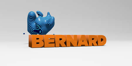 BERNARD -  color type on white studiobackground with design element - 3D rendered royalty free stock picture. This image can be used for an online website banner ad or a print postcard.