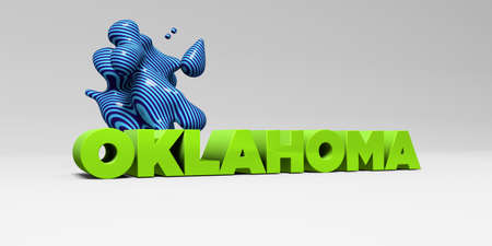 OKLAHOMA -  color type on white studiobackground with design element - 3D rendered royalty free stock picture. This image can be used for an online website banner ad or a print postcard.