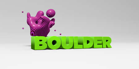 BOULDER -  color type on white studiobackground with design element - 3D rendered royalty free stock picture. This image can be used for an online website banner ad or a print postcard. Imagens