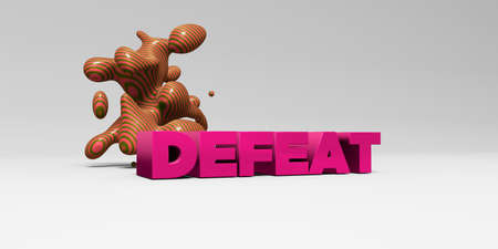 DEFEAT -  color type on white studiobackground with design element - 3D rendered royalty free stock picture. This image can be used for an online website banner ad or a print postcard.