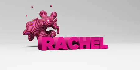 RACHEL -  color type on white studiobackground with design element - 3D rendered royalty free stock picture. This image can be used for an online website banner ad or a print postcard.
