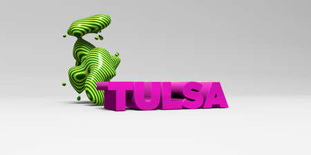 copy text: TULSA -  color type on white studiobackground with design element - 3D rendered royalty free stock picture. This image can be used for an online website banner ad or a print postcard.
