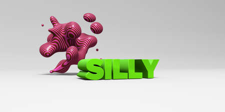 SILLY -  color type on white studiobackground with design element - 3D rendered royalty free stock picture. This image can be used for an online website banner ad or a print postcard.