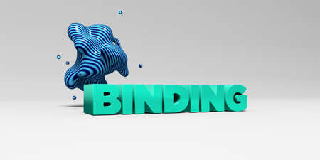 binding: BINDING -  color type on white studiobackground with design element - 3D rendered royalty free stock picture. This image can be used for an online website banner ad or a print postcard.