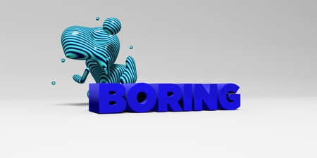 boring: BORING -  color type on white studiobackground with design element - 3D rendered royalty free stock picture. This image can be used for an online website banner ad or a print postcard.