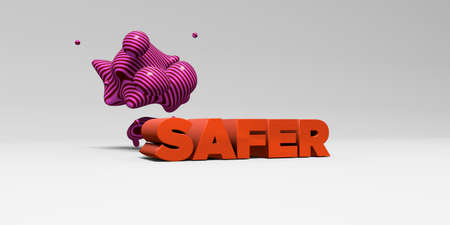 SAFER -  color type on white studiobackground with design element - 3D rendered royalty free stock picture. This image can be used for an online website banner ad or a print postcard.