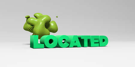 LOCATED -  color type on white studiobackground with design element - 3D rendered royalty free stock picture. This image can be used for an online website banner ad or a print postcard.