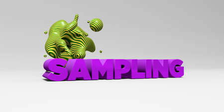 SAMPLING -  color type on white studiobackground with design element - 3D rendered royalty free stock picture. This image can be used for an online website banner ad or a print postcard.