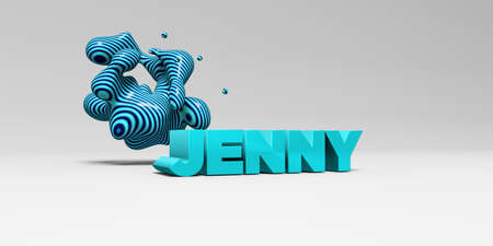 JENNY -  color type on white studiobackground with design element - 3D rendered royalty free stock picture. This image can be used for an online website banner ad or a print postcard.