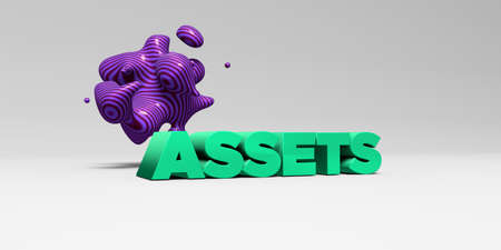 ASSETS -  color type on white studiobackground with design element - 3D rendered royalty free stock picture. This image can be used for an online website banner ad or a print postcard.