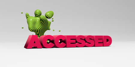 accessed: ACCESSED -  color type on white studiobackground with design element - 3D rendered royalty free stock picture. This image can be used for an online website banner ad or a print postcard.