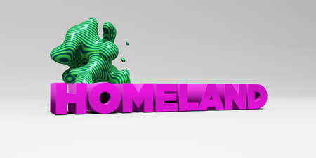 homeland: HOMELAND -  color type on white studiobackground with design element - 3D rendered royalty free stock picture. This image can be used for an online website banner ad or a print postcard. Stock Photo