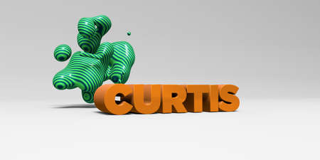curtis: CURTIS -  color type on white studiobackground with design element - 3D rendered royalty free stock picture. This image can be used for an online website banner ad or a print postcard.