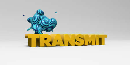 transmit: TRANSMIT -  color type on white studiobackground with design element - 3D rendered royalty free stock picture. This image can be used for an online website banner ad or a print postcard.