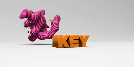 KEY -  color type on white studiobackground with design element - 3D rendered royalty free stock picture. This image can be used for an online website banner ad or a print postcard. Stock Photo