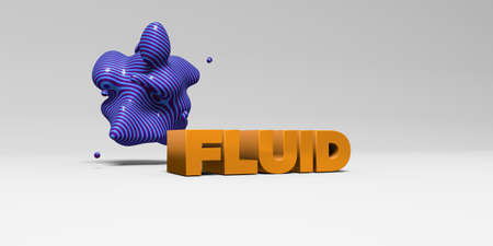 FLUID -  color type on white studiobackground with design element - 3D rendered royalty free stock picture. This image can be used for an online website banner ad or a print postcard.