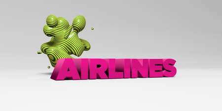 airlines: AIRLINES -  color type on white studiobackground with design element - 3D rendered royalty free stock picture. This image can be used for an online website banner ad or a print postcard.