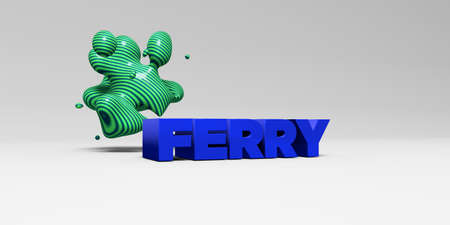 FERRY -  color type on white studiobackground with design element - 3D rendered royalty free stock picture. This image can be used for an online website banner ad or a print postcard. Banco de Imagens