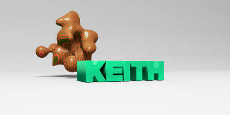 KEITH -  color type on white studiobackground with design element - 3D rendered royalty free stock picture. This image can be used for an online website banner ad or a print postcard.
