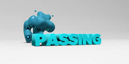PASSING -  color type on white studiobackground with design element - 3D rendered royalty free stock picture. This image can be used for an online website banner ad or a print postcard.