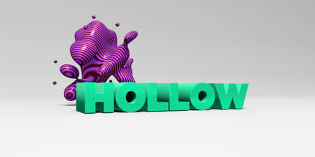 hollow body: HOLLOW -  color type on white studiobackground with design element - 3D rendered royalty free stock picture. This image can be used for an online website banner ad or a print postcard.