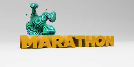 MARATHON -  color type on white studiobackground with design element - 3D rendered royalty free stock picture. This image can be used for an online website banner ad or a print postcard.