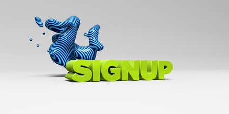 signup: SIGNUP -  color type on white studiobackground with design element - 3D rendered royalty free stock picture. This image can be used for an online website banner ad or a print postcard.