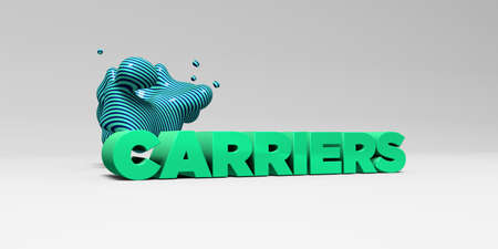 carriers: CARRIERS -  color type on white studiobackground with design element - 3D rendered royalty free stock picture. This image can be used for an online website banner ad or a print postcard. Stock Photo
