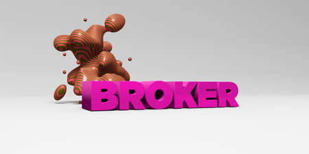 BROKER -  color type on white studiobackground with design element - 3D rendered royalty free stock picture. This image can be used for an online website banner ad or a print postcard.