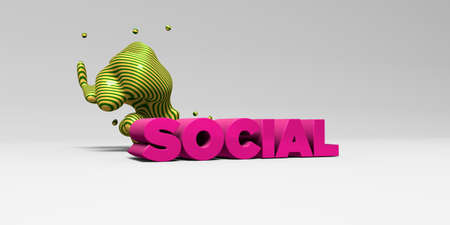 SOCIAL -  color type on white studiobackground with design element - 3D rendered royalty free stock picture. This image can be used for an online website banner ad or a print postcard. Stock Photo