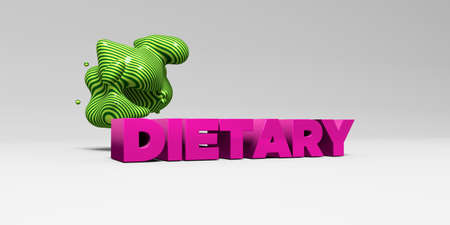 DIETARY -  color type on white studiobackground with design element - 3D rendered royalty free stock picture. This image can be used for an online website banner ad or a print postcard.