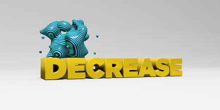 DECREASE -  color type on white studiobackground with design element - 3D rendered royalty free stock picture. This image can be used for an online website banner ad or a print postcard. Stock Photo
