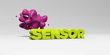 SENSOR -  color type on white studiobackground with design element - 3D rendered royalty free stock picture. This image can be used for an online website banner ad or a print postcard.