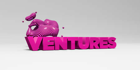 ventures: VENTURES -  color type on white studiobackground with design element - 3D rendered royalty free stock picture. This image can be used for an online website banner ad or a print postcard. Stock Photo