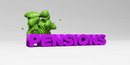 pensions: PENSIONS -  color type on white studiobackground with design element - 3D rendered royalty free stock picture. This image can be used for an online website banner ad or a print postcard. Stock Photo