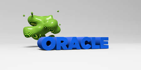 oracle: ORACLE -  color type on white studiobackground with design element - 3D rendered royalty free stock picture. This image can be used for an online website banner ad or a print postcard.