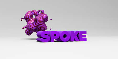 spoke: SPOKE -  color type on white studiobackground with design element - 3D rendered royalty free stock picture. This image can be used for an online website banner ad or a print postcard.