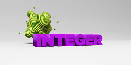 integer: INTEGER -  color type on white studiobackground with design element - 3D rendered royalty free stock picture. This image can be used for an online website banner ad or a print postcard.