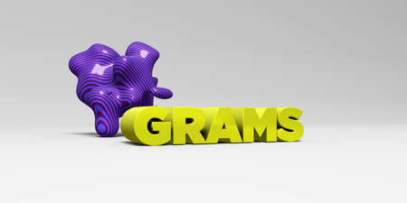 GRAMS -  color type on white studiobackground with design element - 3D rendered royalty free stock picture. This image can be used for an online website banner ad or a print postcard. Stock Photo