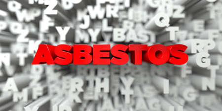 asbestos: ASBESTOS -  Red text on typography background - 3D rendered royalty free stock image. This image can be used for an online website banner ad or a print postcard. Stock Photo