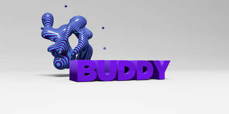 buddy: BUDDY -  color type on white studiobackground with design element - 3D rendered royalty free stock picture. This image can be used for an online website banner ad or a print postcard.