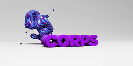 corps: CORPS -  color type on white studiobackground with design element - 3D rendered royalty free stock picture. This image can be used for an online website banner ad or a print postcard. Stock Photo