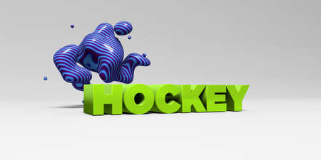 HOCKEY -  color type on white studiobackground with design element - 3D rendered royalty free stock picture. This image can be used for an online website banner ad or a print postcard. Stock Photo