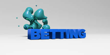betting: BETTING -  color type on white studiobackground with design element - 3D rendered royalty free stock picture. This image can be used for an online website banner ad or a print postcard.