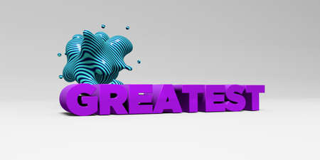 GREATEST -  color type on white studiobackground with design element - 3D rendered royalty free stock picture. This image can be used for an online website banner ad or a print postcard.