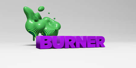 BURNER -  color type on white studiobackground with design element - 3D rendered royalty free stock picture. This image can be used for an online website banner ad or a print postcard. Stock Photo