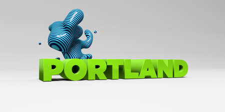 copy text: PORTLAND -  color type on white studiobackground with design element - 3D rendered royalty free stock picture. This image can be used for an online website banner ad or a print postcard.