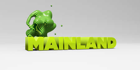 mainland: MAINLAND -  color type on white studiobackground with design element - 3D rendered royalty free stock picture. This image can be used for an online website banner ad or a print postcard. Stock Photo